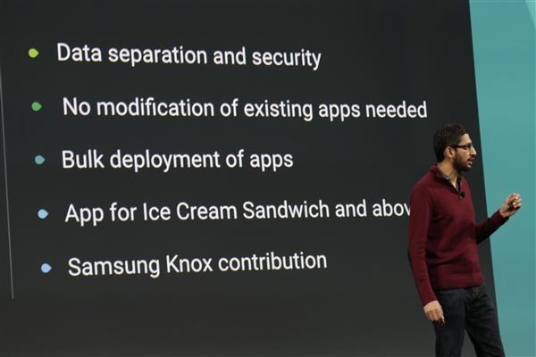 """Sundar Pichai stellt """"Android for Work"""" vor (Bild: ZDNet.com)."""
