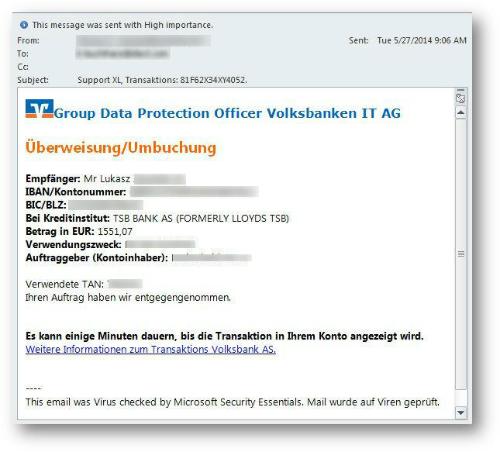Die Banking-Malware Emotetwird unter anderem über angebliche E-Mails der Volksbank verbreitet (Bild: Trend Micro).