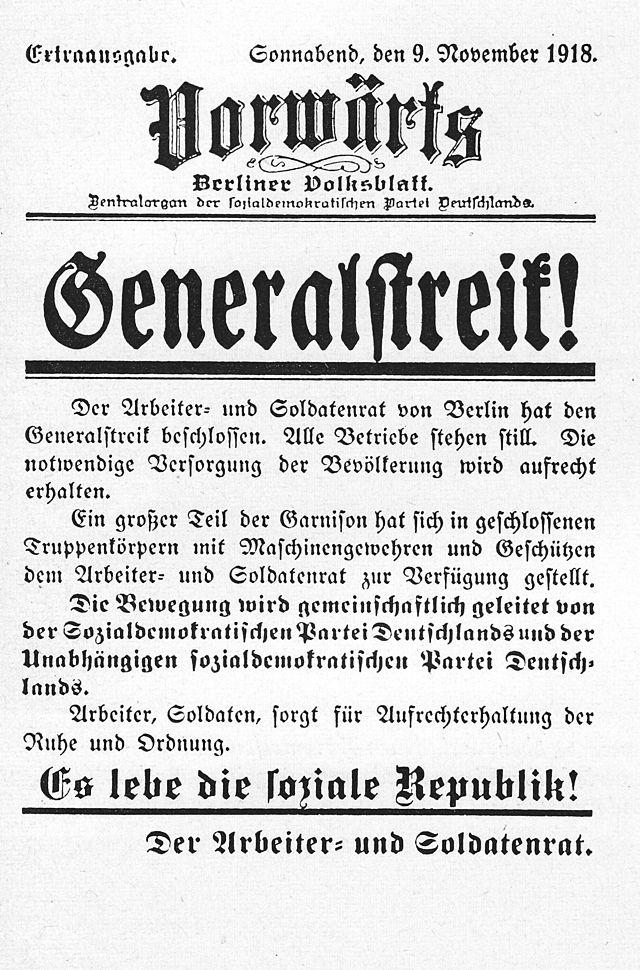 Die Vorwärts vom 9. November 1918. Quelle: Wikipedia/Gemeinfrei