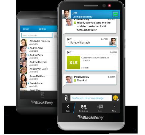 Die Business-Variante des BlackBerry Messengers: BBM Protected, sie soll in der Messaging-Lösung eBBM Suite zum Einsatz kommen. Quelle: BB
