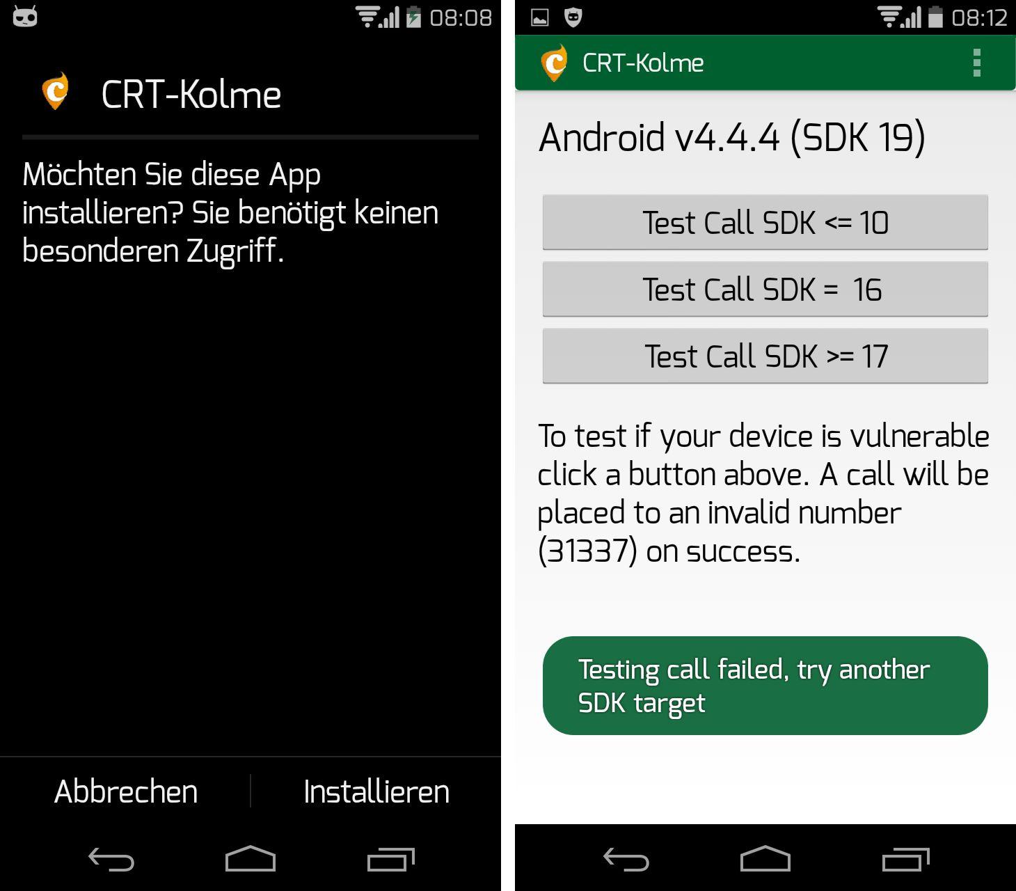 Auf einem Motorola Moto G mit einer aktuellen Nightly-Version von Cyanogenmod 11 lässt sich laut Tests von ZDNet die Lücke mit der von Curesec bereitgestellten Test-Anwendung nicht mehr ausnutzen (Screenshot: ZDNet).