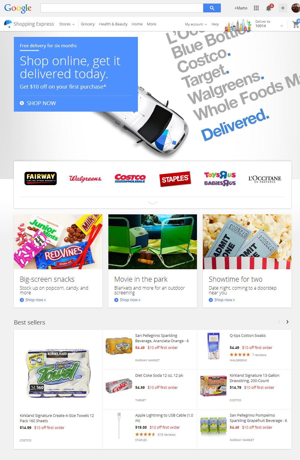 So stellt sich Google Shopping Express derzeit dem Besucher dar. Zum Beispiel in New York ist der Einfkaufsdienst bereits verfügbar. Anders als der Konkurrent Amazon aber setzt Google aber offenbar auf eine Partnerschaft mit dem Einzelhandel. Screenshot: silicon.de
