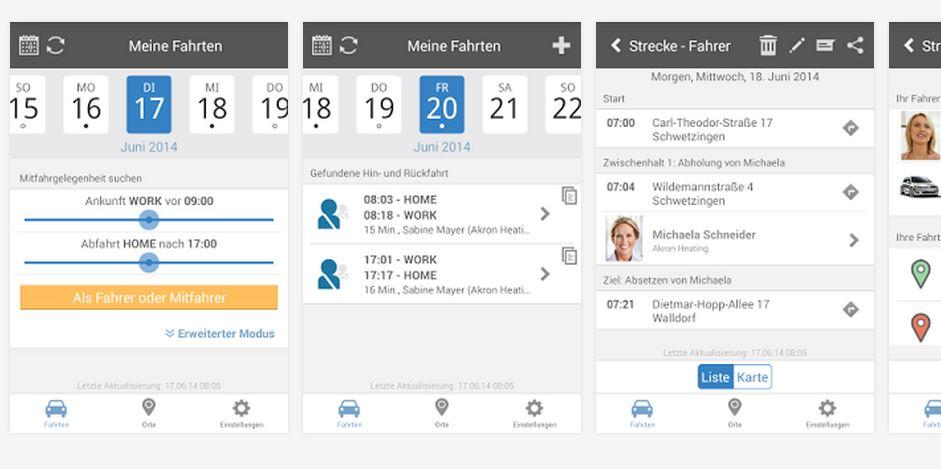 So sieht das SAP-Mitfahrer-Portal in der Android-App aus. Quelle: SAP