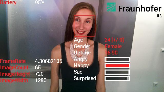Glassware aus dem Hause Fraunhofer: Die Forscher haben die Echtzeitanalysesoftware SHORE jetzt auf Google Glass gebracht. Neben einer Gesichtserkennung analysiert SHORE auch Alter und Emotionen einer Person. Quelle: Frauhofer IIS