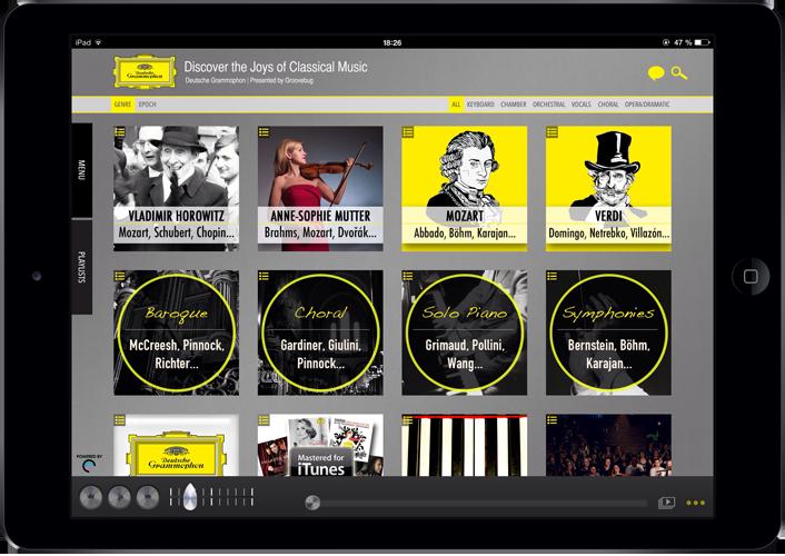 DG Discovery auf dem iPad. Quelle: Universal Music