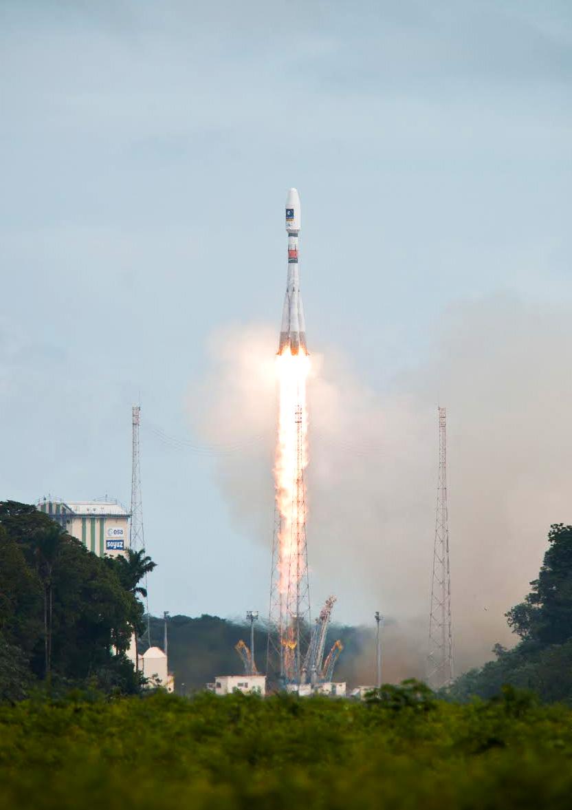 Um 14:27 startete die Sojus-Rakete mit den beiden Galileo-Satelliten. (Bild: ESA)