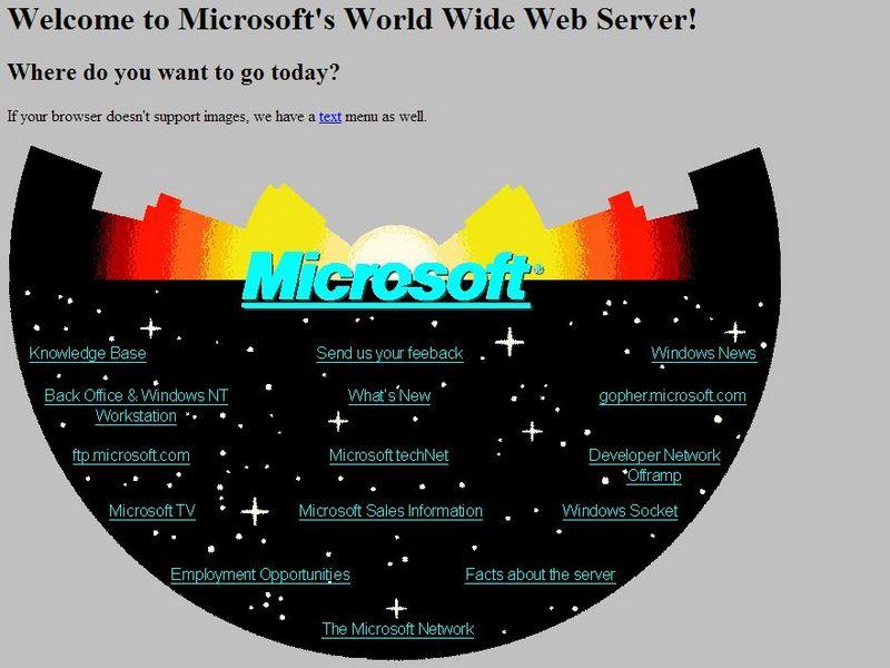 Ein Fundstück aus der Microsoft-Redaktion: So sah die Homepage des Herstellers 1994 aus. (Bild: Microsoft)