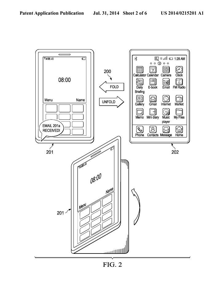 Auszug aus dem SAP-Patent US2014215201, das ein mobiles Endgerät beschreibt, das über verschiedene Faltungen unterschiedliche Modi und Funktionen bereit stellt. Dieses Schutzrecht sorgt derzeit für Diskussionen, ob SAP nun ins Hardware-Geschäft einsteigt. Quelle: US Patent Application Publication/T. Pfeifer, SAP SE.