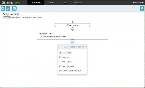 Der Activiti Step Editor ermöglicht auch weniger versierten Anwendern einen Business-Prozess anzulegen. Quelle: Alfresco