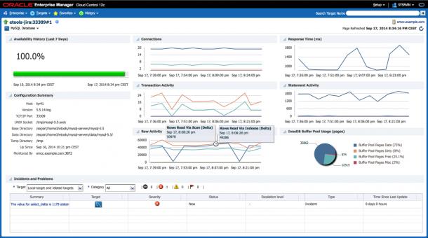Performance-Dashboard für die MySQL-Datenbank im Oracle Enterprise Manager. Quelle: Oracle