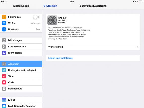 """Apple rollt iOS 8 aus. Das Update liefert laut Apple """"Hunderte"""" neuer Funktionen. Screenshot: ZDNet.de"""
