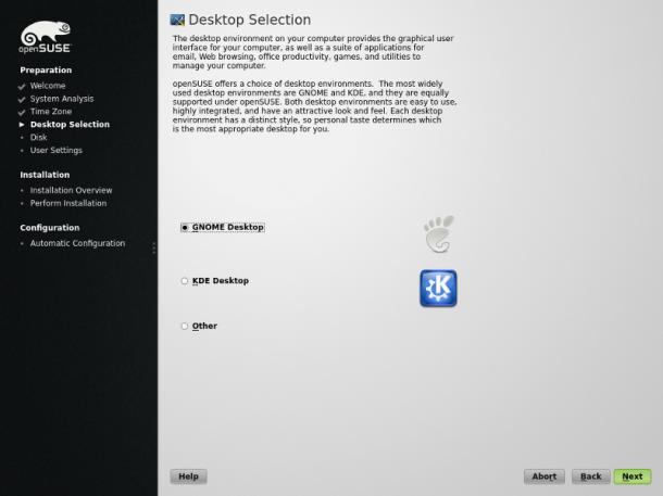 Desktop-Auswahl unter OpenSuse 13.1. Quelle: OpenSuse.org
