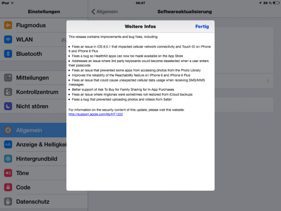 iOS 8.0.2 soll die Fehler der Vorgängerversion ausbügeln. Nutzt auch das nichts, rät Apple den Anwendern, wieder auf iOS 8 zurückzukehren.