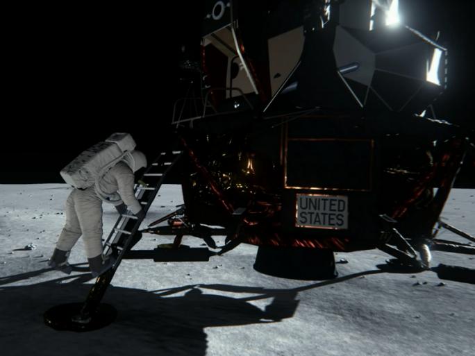 Nvidia stellt mit den Maxwell-Grafikkarten GeForce GTX 980 und GTX 970 bekannte Fotos der Mondlandung nach. (Video-Screenshot: silicon.de)