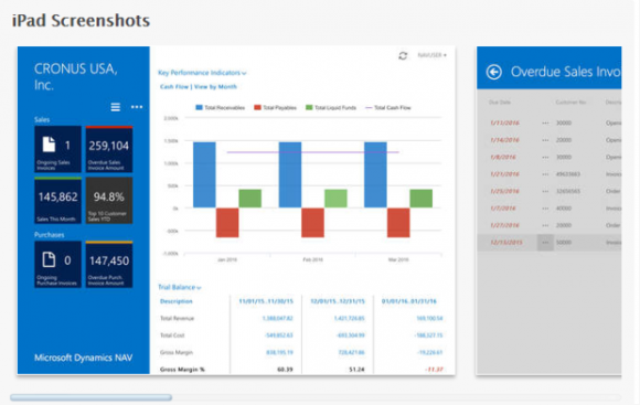 So sieht der neue mobile Client von Microsoft Dynamic NAV ERP auf dem iPad aus. Quelle: Microsoft