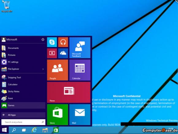 """Build 9834 von Windows 9 """"Threshold"""" (Screenshot: Computerbase)"""