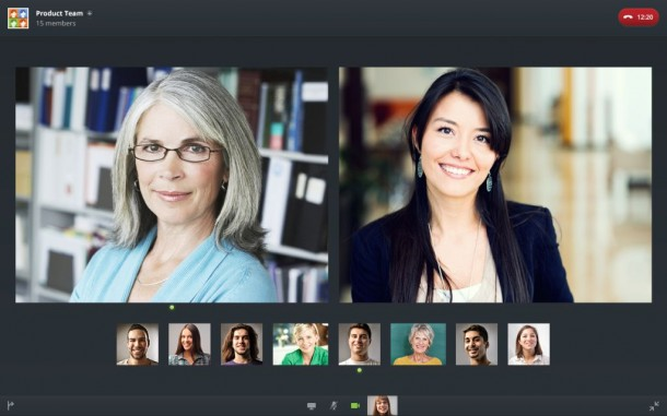 Videokonferenz mit Circuit im Chrome Browser (Screenshot: Unify).