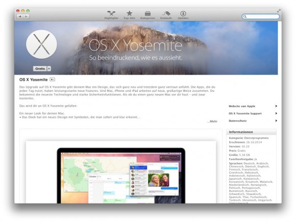 Im Oktober vergangenen Jahres hatte Apple zusammen mit OSX 10, Codename Yosemite, auch ein Beta-Programm eingeführt. Das soll jetzt offenbar auch auf iOS ausgeweitet werden. Berichten zufolge, wird iOS 8.3 bereits von 100.000 Betatestern geprüft werden. (Bild: Apple)