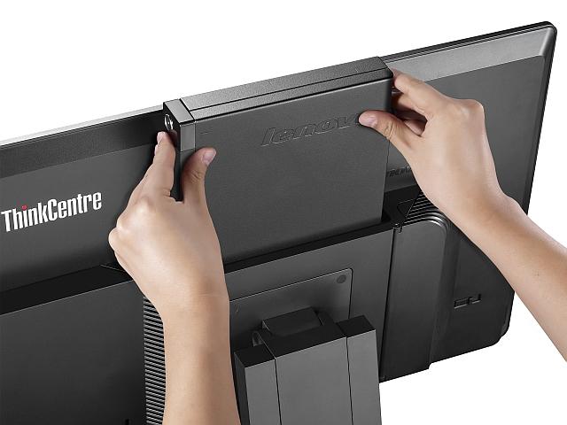 Die Thin Clients werden einfach in das Tiny-in-One eingeschoben. (Bild: Lenovo)