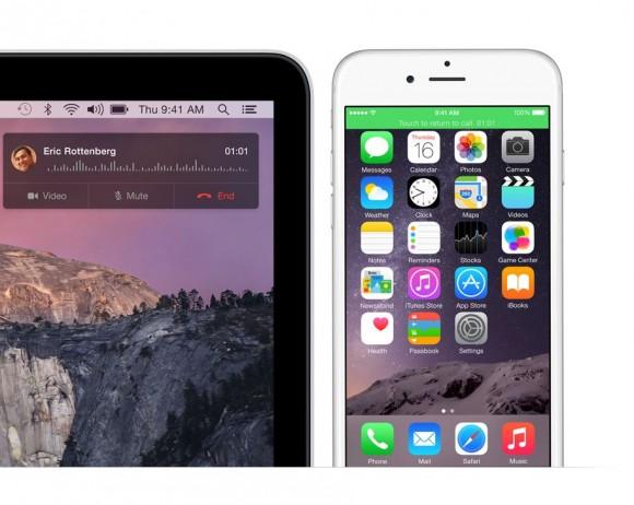 Die neuen Integrationsfunktionen von OS X 10.10 Yosemite erlauben es, auf einem Mac Anrufe anzunehmen. Quelle: Apple