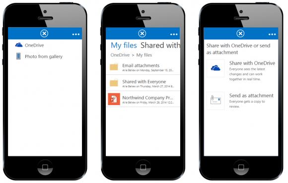Microsoft weitet die Filesharing-Funktionen von One Drive for Business und Outlook We App aus. Quelle: Microsoft