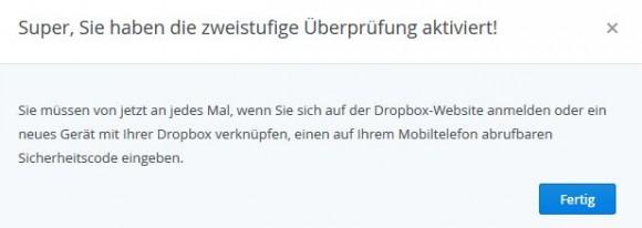 """Dropbox: Zwei-Faktor-Authentifizierung schützt vor unberechtigtem Zugriff (Screenshot: ZDNet.de)"