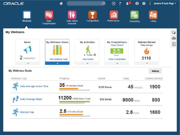 Empolyee Wellness: Oracle erweitert mit dem Fusion Application Release 10 die HCM-Lösung mit einem Fitness-Tracker für Angestellte. Quelle: Oracle