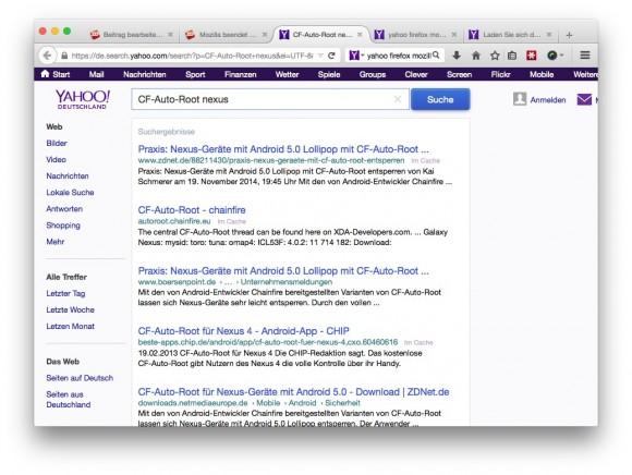 Mozilla macht im Rahmen eines neuen Suchabkommens Yahoo zur neuen Standardsuchmaschine in Firefox (Screenshot: ZDNet.de).