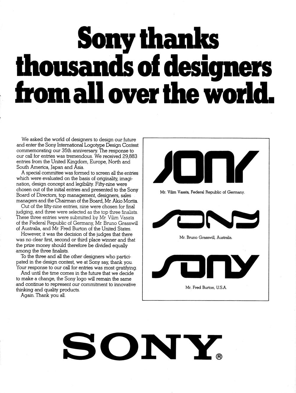 Entwürfe von Sony-Logos 1981 (Bild: Time Magazine)