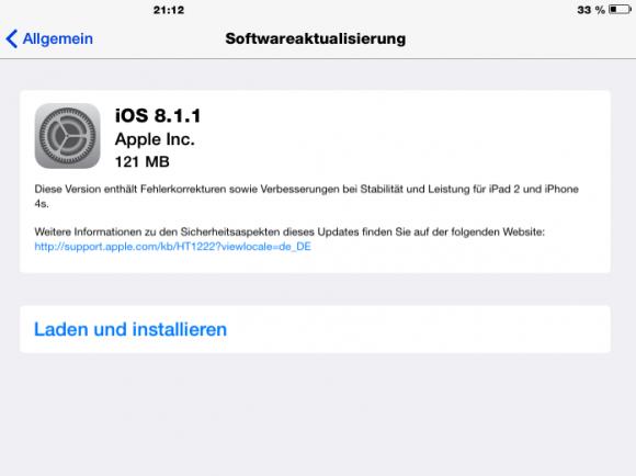 iOS 8.1.1 schließt mehrere Lecks, darunter auch die für den Pangu-Jailbreak verwendeten Sicherheitslücken. (Screenshot: ZDNet.de)