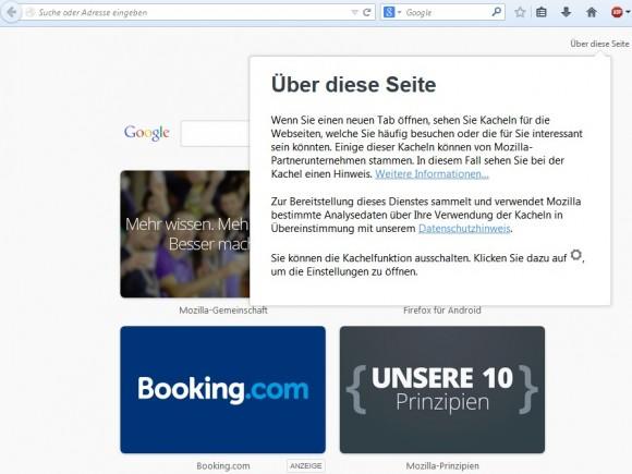 """Ab sofort zeit Mozilla in der Seite """"Neuer Tab"""" Werbung an. (Screenshot: ZDNet.de)"""