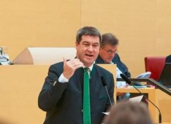 HeimMinister Söder bei seiner Regierungserklärung vor dem Bayerischen Landtag. (Bild: STMF Bayern)