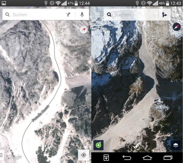 Google Maps (links) und Nokia Here rechts. Der Dienst von Nokia bietet bessere Qualität. Die Darstellung erinnert an Apples Kartendienst. (Screenshot: ZDNet.de)