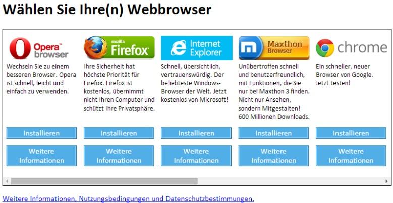 Browserwahl unter Windows 7 (Screenshot: ZDNet.de)