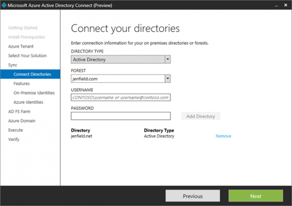 Azure Active Directory Connect als Preview. (Bild: Microsoft)