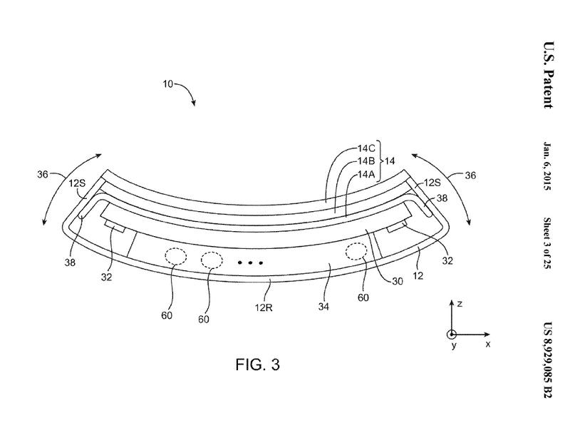 Apple Patent für ein flexibles Mobilgerät. (Bild: USPTO)