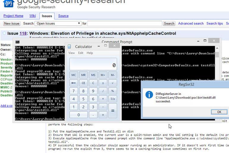 Beispielcode für eine Windows-Schwachstelle verschafft dem Taschenrechner Administratorrechte (Screenshot: Google).