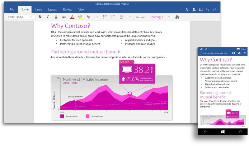 Office für Windows 10 (BIld: Microsoft)