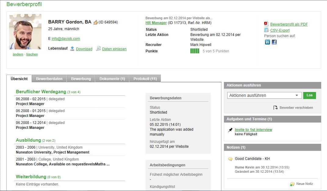 Bewerberprofil in Sages neuem HCM-Management HR Online. (Bild: Sage)