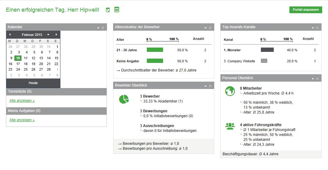 Das Dashboard von Sage HR Online . (Bild: Sage)