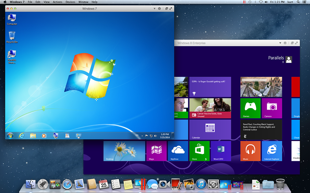 Verschiedene Windows-Versionen unter MacOS. (Bild: Parallels)
