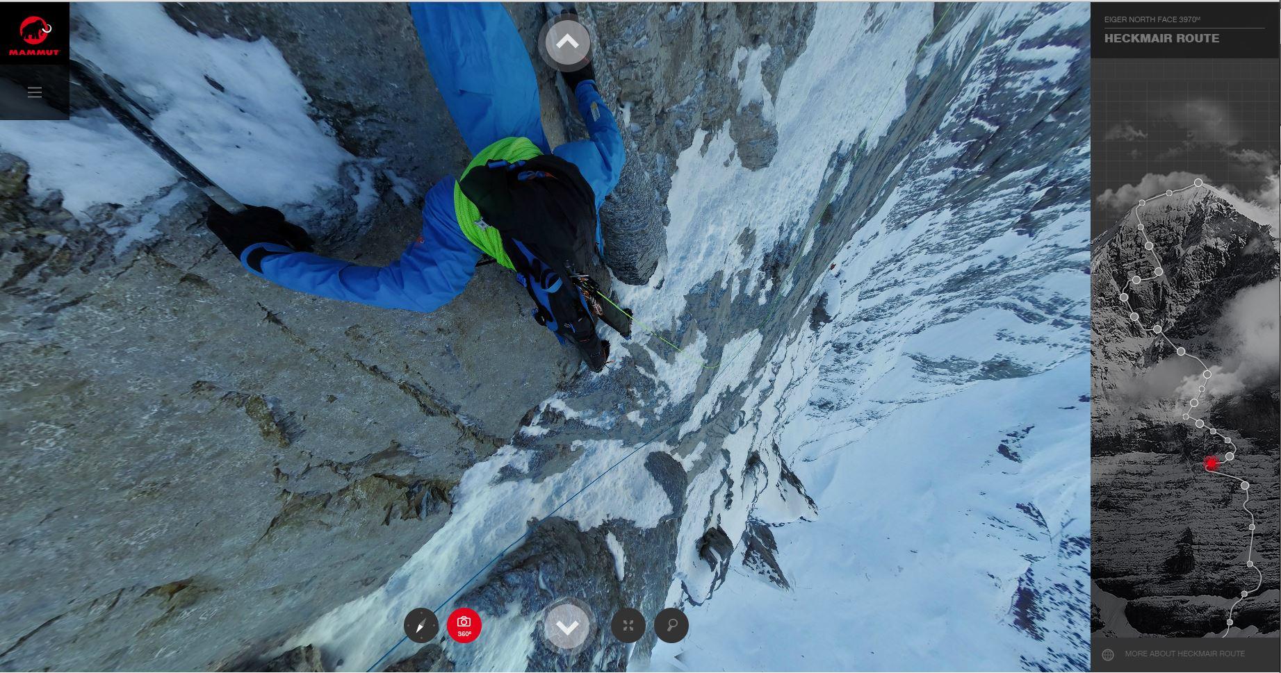 Eiger Nordwand: Mammuts #project360 vermittelt die Heggmair-Route lebensnah. (Bild: Mammut)