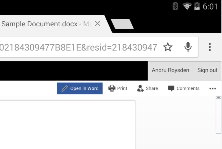 Unter Android können in Office Online geöffnete Dateien nun direkt in der zugehörigen App weiter bearbeitet werden (Bild: Microsoft).