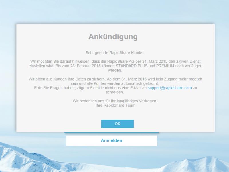 """Rapidshare stellt Ende März seinen """"aktiven Dienst"""" ein (Screenshot: ZDNet.de)"""