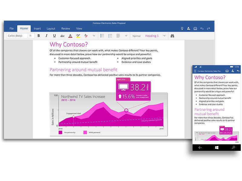 """Universelles"" Word unter Windows 10 (Bild: Microsoft)"