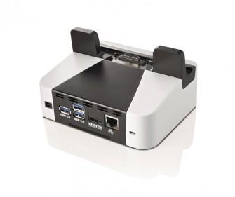 Das Cradle mit Peripherie-Schnittstellen und Ethernet-Port für das Stylistic V535. (Bild: Fujitsu)