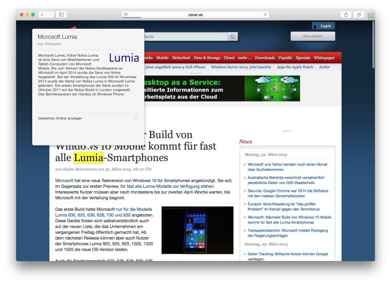 Mit dem Force-Touch-Trackpad lässt sich ein Wikipedia-Eintrag aufrufen. (Screenshot: ZDNet.de)