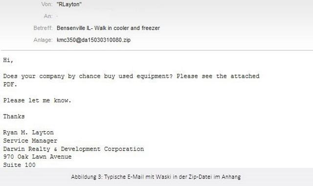 Bei einer E-Mail dieser Form in englischer Sprache sollten Nutzer alarmiert sein. Sie enthält Waski als ZIP-Datei im Anhang (Screenshot: Eset).