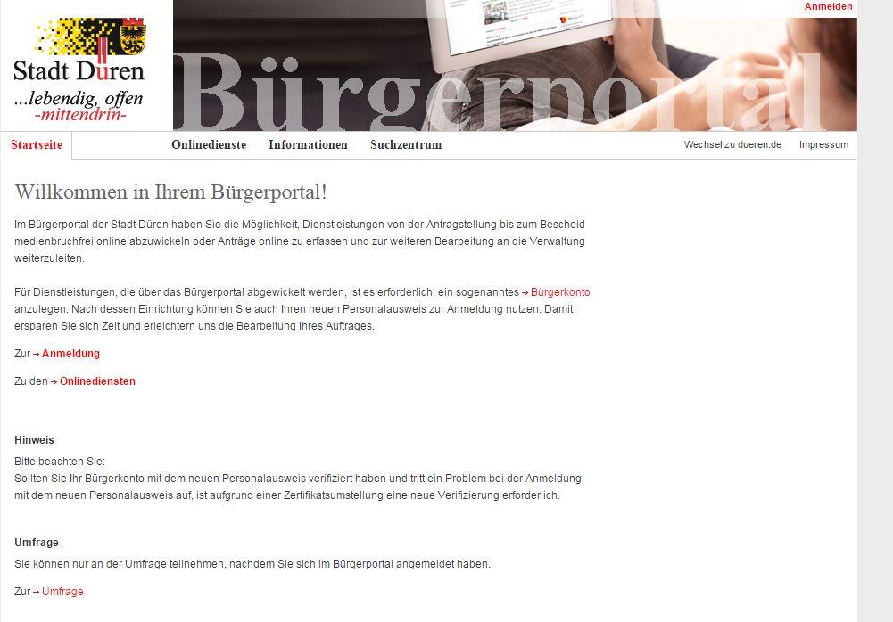 die nordrhein-westfälische Stadt Düren integriert PayPal ins Bürgerportal. (Screenshot: silicon.de)