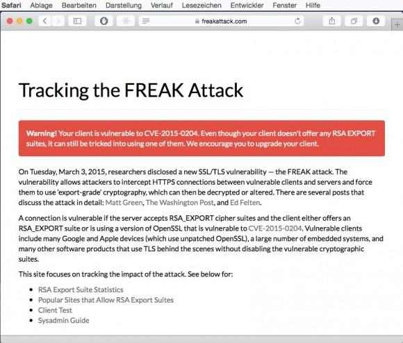 Apples Safari-Browser ist durch die Sicherheitslücke Freak gefährdet. (Screenshot: ZDNet.de)